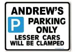 ANDREW'S Personalised Gift |Unique Present for Him | Parking Sign - Size Large - Metal faced
